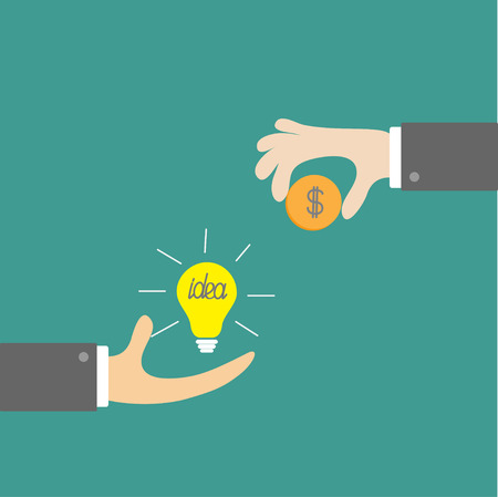 Hands with idea bulb and money coin. Exchanging concept. Flat design style. Vector illustration. Vector