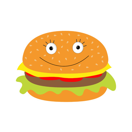 Funny cartoon hamburger icon with happy face. Vector illustration. Vector