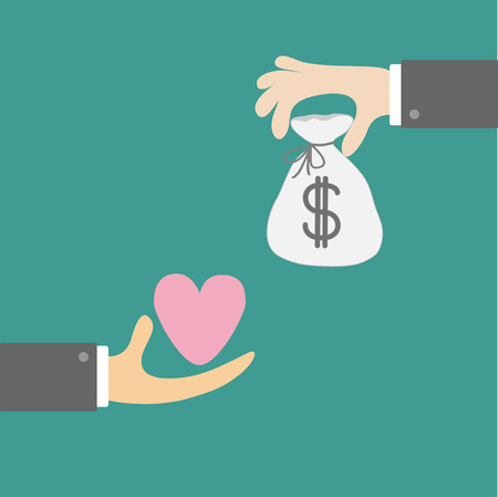 Hands with heart and money  bag. Exchanging concept. Flat design style. Vector illustration.