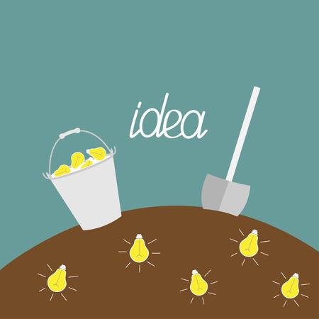 bedrock: Lamp bulb underground. Shovel and bucket. Dig the idea concept.  Vector illustration.