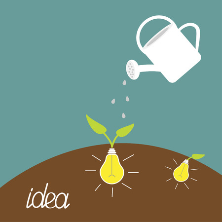 Watering can and lamp bulb plant. Growing idea concept. Vector illustration. Vector