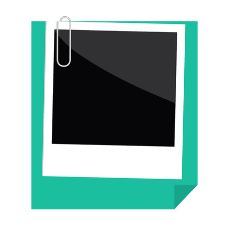 Instant photo, paperclip and green paper with folded corner in flat design style. Template. Vector illustration.  Vector