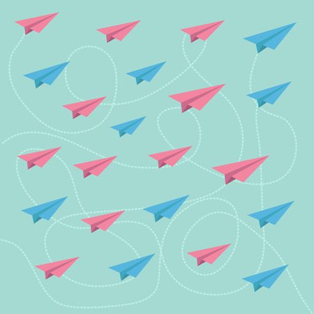 Pink and blue planes with dash lines. Pattern. Vector illustration. Vector