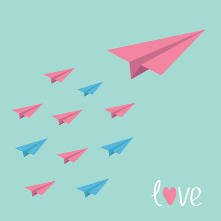 Big pink paper plane with small planes. Love card. Vector illustration. Vector