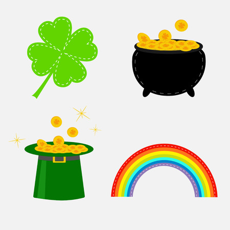 patrics: Clover leaf, pot with money, green hat and rainbow. St. Patrick set. Vector illustration.