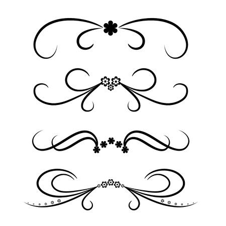 bordure de page: Calligraphique �l�ment de conception r�gl�e avec des fleurs. Vector illustration.