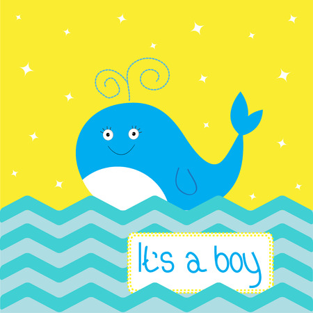 It�s a boy  shower card with cute cartoon whale and sparkles. Vector illustration Vector