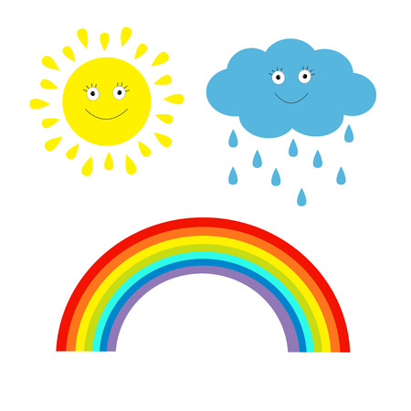 Cartoon sun, cloud with rain and rainbow set.  Isolated. Children's funny illustration. Vector. Illustration