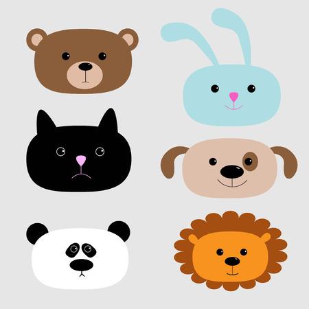 oso caricatura: Establece cabeza Animal. Oso de la historieta, conejo, gato, perro, panda, le�n. Ilustraci�n vectorial Vectores