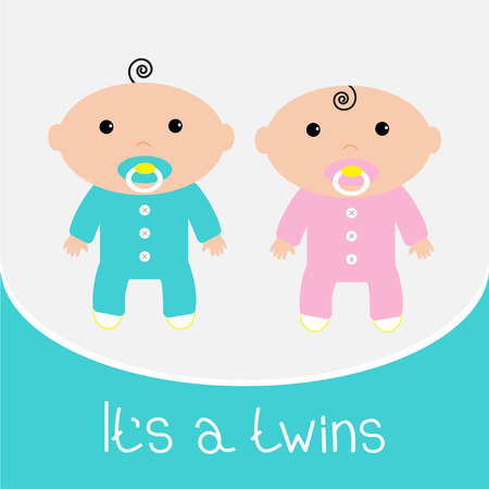 Baby shower card. Its a twins boy and girl. Vector illustration. Vector