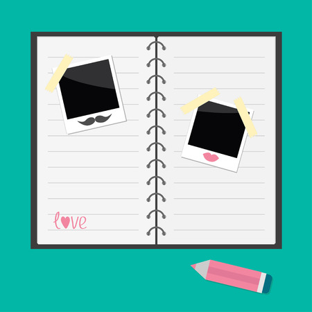 jotter: Notepad with spiral,  blank lined paper, pencil and instant photo with lips and moustache . Flat design. Vector illustration.