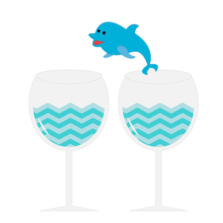 Cocktail drink glasses and jumping dolphin. Isolated. Vector illustration. Vector