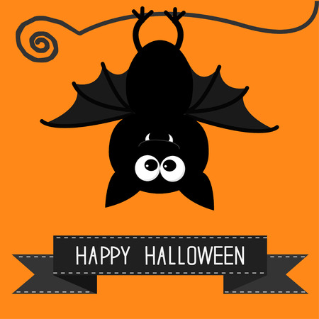 Cute bat and black ribbon. Happy Halloween card. Vector illustration
