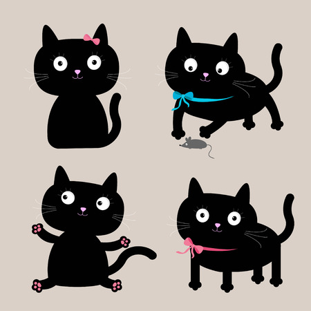 Cute cartoon black cat set. Funny collection. Vector illustration.  Vector