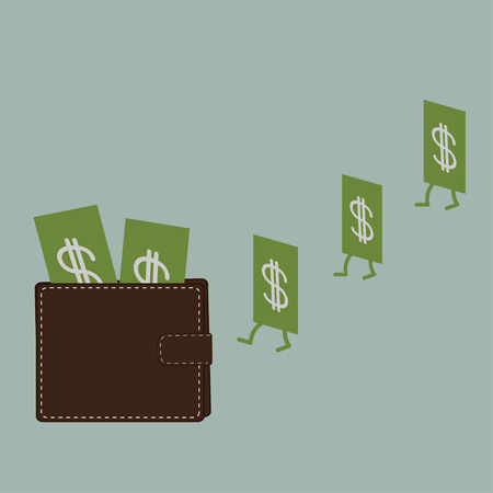 Dollar money and wallet. Flat design style. Vector illustration. Vector