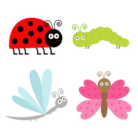 Leuke cartoon insect set. Lieveheersbeestje, libel, vlinder en rups. Geïsoleerd. Vector illustratie.