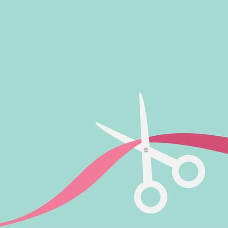 ruban blanc: Ciseaux coupent le ruban. Appartement style de conception. Vector illustration. Illustration