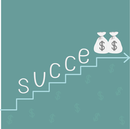 Stairs word success and money bags with dollar sign. Vector Illustration Stock Vector - 27323207
