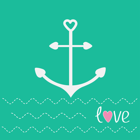 Anchor with shapes of heart and dash line waves. Love card. Vector illustration. Vector