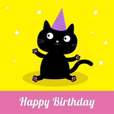 Cute cartoon black cat with hat. Card. Vector illustration.  Vector