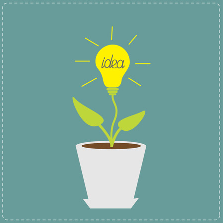 plant pot: Plant in the pot with lamp bulb. Growing idea concept. Vector illustration. Illustration