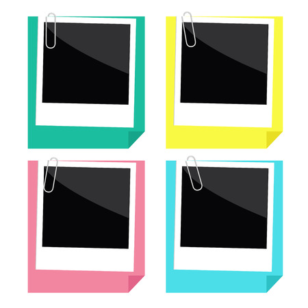 Instant photo, paperclip and paper with folded corner set. Template. Flat design style. Vector illustration.