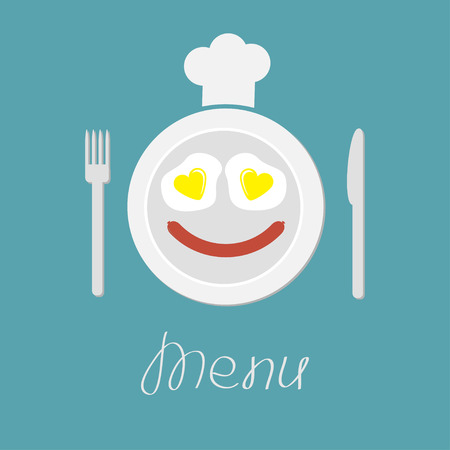 dinner plate: Plate with eggs heart and sausage. Fork, knife and chefs hat. Menu card. Flat design style.  Vector illustration.