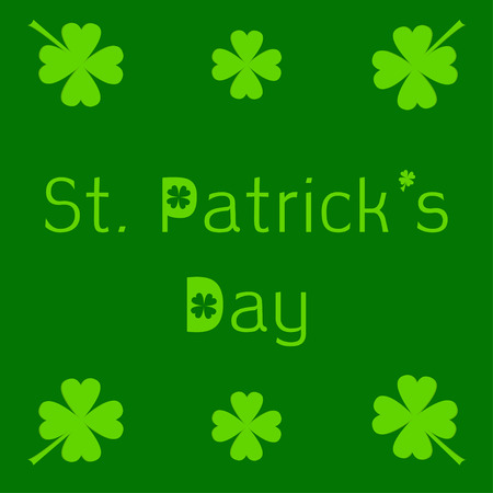 St. Patricks day card with clover leaf. Vector illustration. Vector