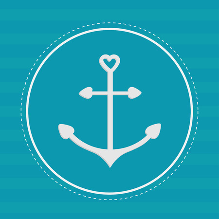 Round label with anchor in shapes of heart. Dash line. Striped background. Vector illustration Vector