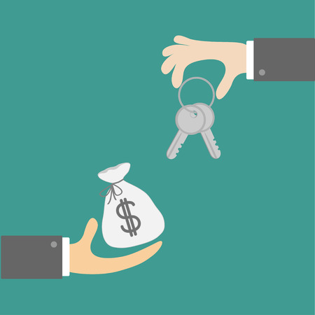 Hands with house and money  bag. Exchanging concept. Flat design style. Vector illustration. Vector