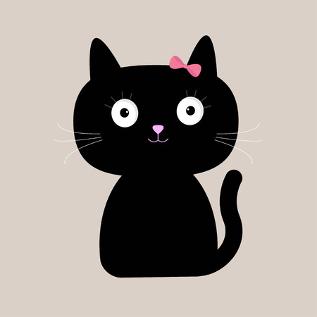 Cute cartoon black cat with big eyes. Vector illustration.