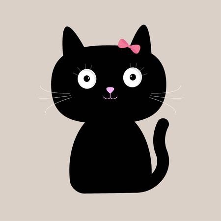 Gato negro de dibujos animados lindo con ojos grandes. Ilustración vectorial Ilustración de vector
