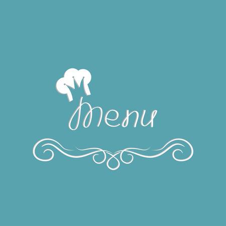 elegant border: Menu cover design with hat in shape of crown. Abstract calligraphic frame. Vector illustration. Illustration