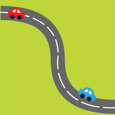Background with road and cartoon cars. Vector illustration. Vector