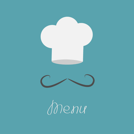 Big chefs hat and mustache. Menu card. Flat design style. Vector illustration. Vector