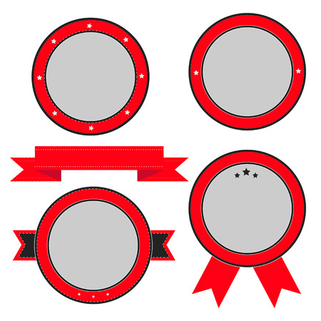 Red  badge and label set with ribbon and stars. Empty templates. Vector illustration. Vector