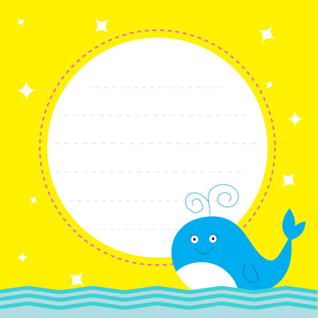 Frame with cute cartoon whale and sparkles. Happy Birthday party card.  Vector illustration Vector