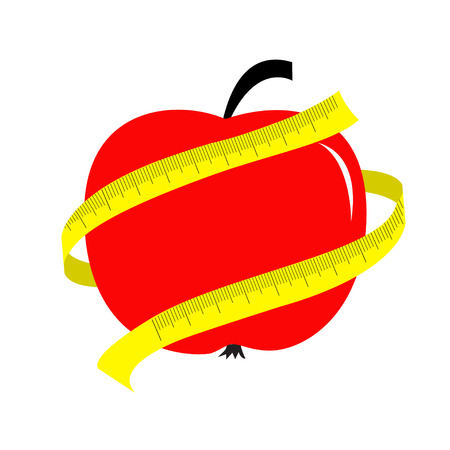 Red apple with yellow measuring tape ruler. Diet concept card. Vector illustration Vector