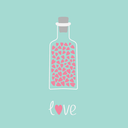 bung: Love bottle with hearts inside. Pink and blue.  Love Card. Vector illustration
