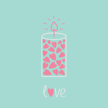 Love candle with hearts. Pink and blue.  Love card. Vector illustration.