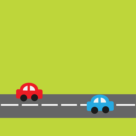 Background with horizontal road and cartoon cars. Vector illustration. Vector