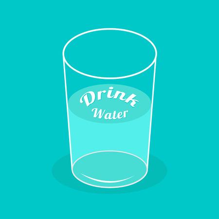 glass half full: Big  glass of water. Drink water Infographic.  Flat design. Vector illustration. Illustration