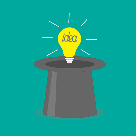 Light bulb in magic hat. Idea concept. Flat design style. Vector illustration Vector