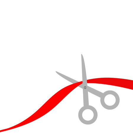 inaugural: Scissors cut the red ribbon. Isolated. Flat design style. Vector illustration.
