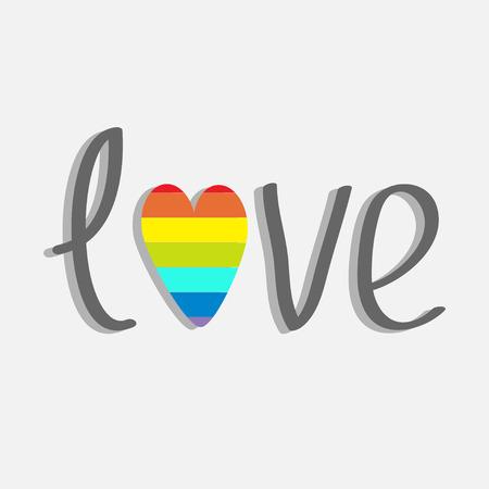 Word love with rainbow heart. Flat design. Vector illustration Vector