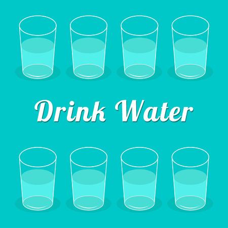 glass half full: Drink more  water. Glasses set. Infographic. Flat design. Vector illustration.
