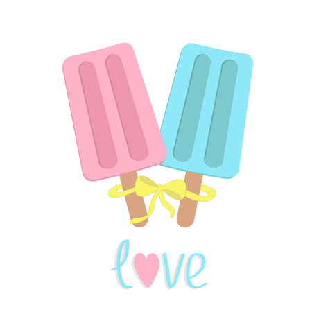 Ice cream  with bow on  sticks. Love card. Vector illustration. Vector