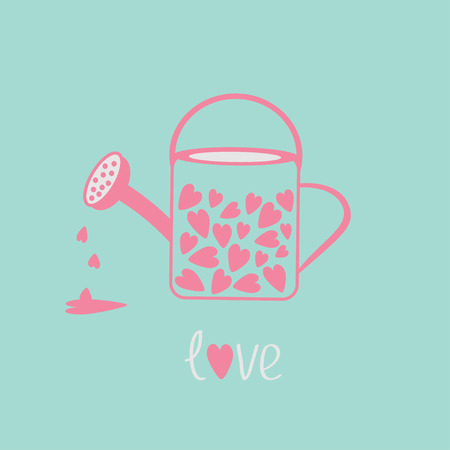 Love watering can with hearts inside. Pink and blue. Card. Vector illustration.  Illustration