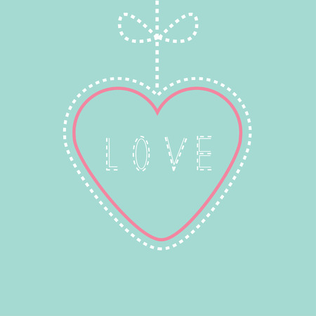 Hanging pink and blue heart with bow. Love card. Illustration Vector