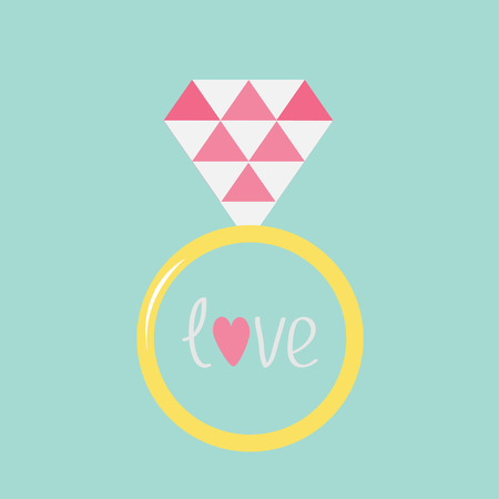 gold ring: Wedding  gold ring with pink diamond and word love. Flat design. Card. Vector illustration.